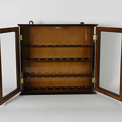 Contemporary Burlwood Hanging Pipe Cabinet
