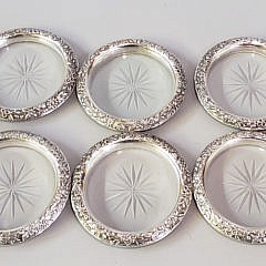 Set of 7 Sterling Silver and Crystal Coasters