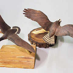 Two Hand Carved and Painted Spread Winged Bird Decoys