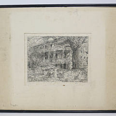 "Childe Hassam Etching ""The Old House, Cos Cob"""