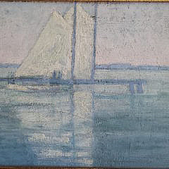"""Pair of Alexander H. Lappe Oil on Board, """"Views of Buzzard's Bay"""""""