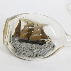 Ship Etched Glass Chalice and Antique Ship in a Bottle
