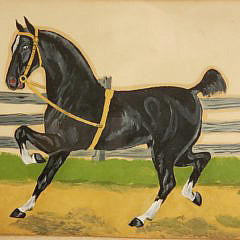Antique Equestrian Oil Painting of Stallion