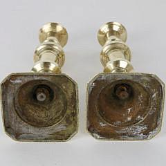 Pair of Brass Pushup Candlesticks, 19th Century