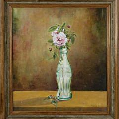 """Oil on Canvas """"Floribunda Roses in a Vintage Coca-Cola Bottle"""""""
