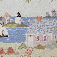 "Claire Murray Wool Hooked Rug ""Cottages and Lighthouses"""
