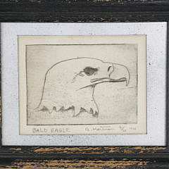 """R. Mortross Limited Edition Etching """"Bald Eagle"""", circa 1970"""