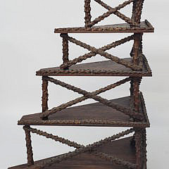 Vintage Six Tier Folk Art Branch Work Corner Stand