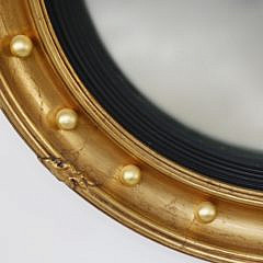 Antique Carved and Gilt Convex Mirror