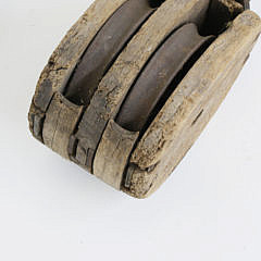 Large Iron and Wood Double Sheave Ship's Block, 19th Century
