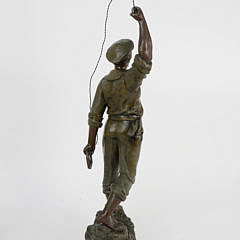 French Sailor Figure Standing on a Rock Formation, Made in Paris France