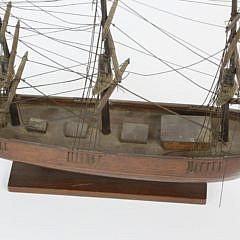 Miniature Hand Made 3-Mast Ship Model, 19th Century