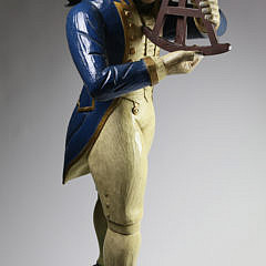 Folk Art Carved Figure of Admiral Lord Nelson Holding an Octant, 20th Century