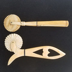 Two Antique Whaleman Made Whale Ivory and Whalebone Pie Crimpers, circa 1870