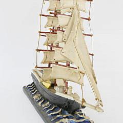 Folk Art Carved Wood 3-Mast Sailing Ship Model