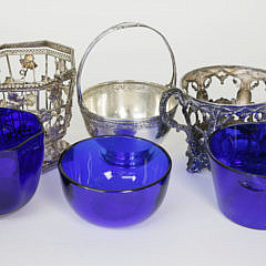 3 Antique Sterling Silver and Plated Cobalt Lined Baskets