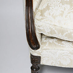Sheraton Style Mahogany Upholstered Settee