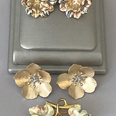 3 Pairs of 14k Gold Earclips and Leaf Pin