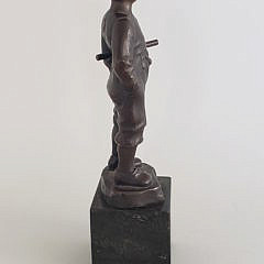 Vintage Miniature Bronze Statue of a Young Boy