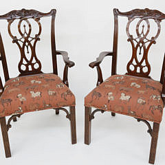 3-4936 Pair Chinese Chippendale Style Armchairs A_MG_8655
