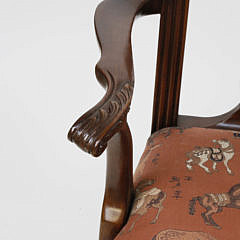 Pair Chinese Chippendale Style Open Armchairs, 20th Century