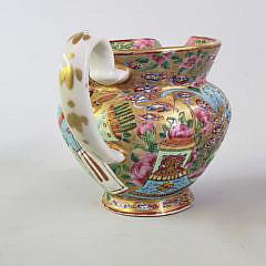 19th Century Chinese Rose Mandarin Hog Nose Creamer