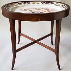 Mason's Ironstone Meat Platter in Custom Mahogany Stand