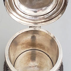 19th Century English Silver Plate and Marble Biscuit Jar