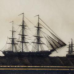 """19th Century Reverse Painting on Glass Ship Portrait of the """"HMS Wacousta"""""""