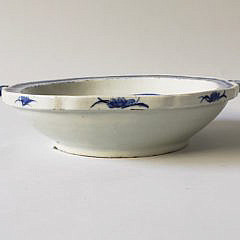 19th Century Chinese Canton Blue and White Hot Water Dish