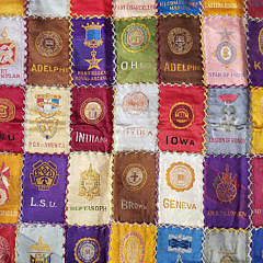 Vintage College Tobacco Silk Square Patchwork Mat
