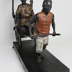 Vintage Asian Polychromed Bronze Rickshaw Figural Group Sculpture, 20th Century