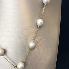 14k Yellow Gold 14mm – 14.5mm White Fresh Water Pearl Lariat Necklace