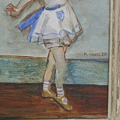 "M. Mandler Vintage Oil on Canvas ""Ballet Class"""
