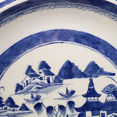 19th Century Chinese Canton Blue and White Pie Plate