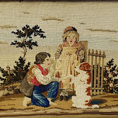 19th Century Framed Needlepoint Side Table