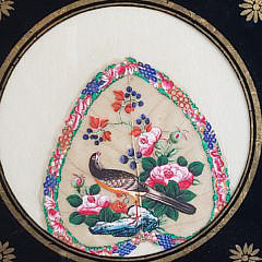 Three Framed China Trade Painted Pith Paper Fans, circa 1860