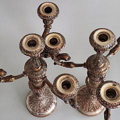 Pair of Silver Plated Four-Light Candelabra