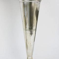 Pair of Polished Pewter Floral Trumpet Vases