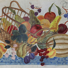 """Louis Cary Watercolor Theorem on Paper Board """"Spilled Basket of Fruit"""""""