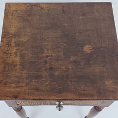 New England Sheraton Tiger Maple One Drawer Night Stand, 19th Century