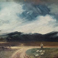 "19th Century Oil on Masonite, ""Sheep Herder"""