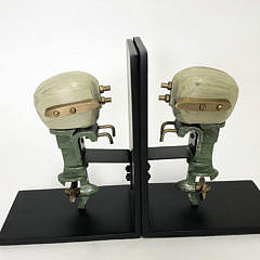 Pair of Outboard  Motorboat Bookends