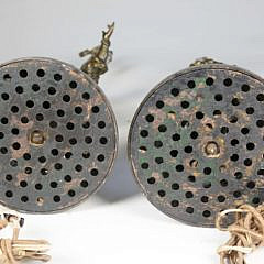 Pair of Patina White Metal Figures Mounted as Lamps