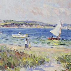"Jan Pawlowski Oil on Canvas ""Inner Harbor – Nantucket"""