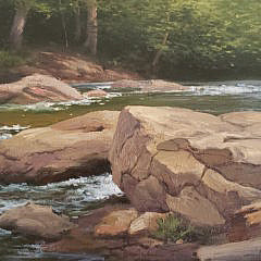 "Albert Bross Jr. Oil On Canvas, ""Shady Stream"""