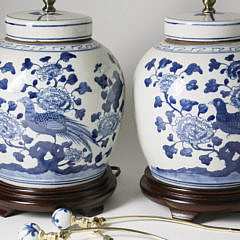 Pair of Canton Style Ginger Jar Lamps