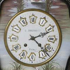 French Decorated Wall Clock Signed C. Chauvineau – Sanxay