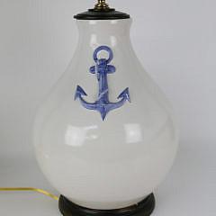 "Contemporary ""Anchors"" Ceramic Lamp"