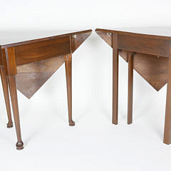 Two Mahogany Envelope Tables, 20th Century